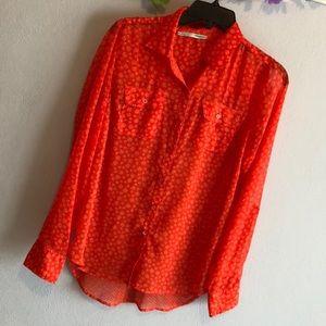 Sheer orange blouse 3️⃣FOR💲15